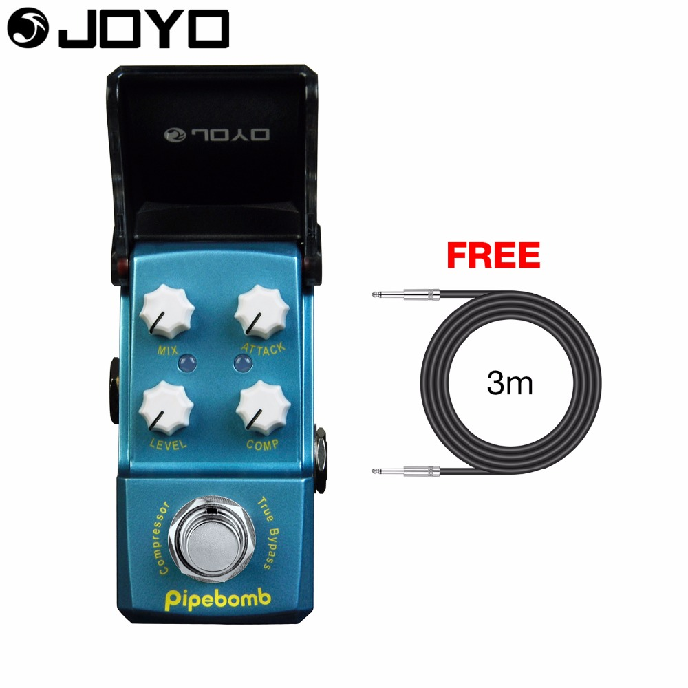 Joyo Pipebomb Compressor Electric Guitar Effect Pedal True Bypass MIX Knob Attack Control JF-312 with Free 3m Cable joyo jf 317 space verb digital reverb mini electric guitar effect pedal with knob guard true bypass