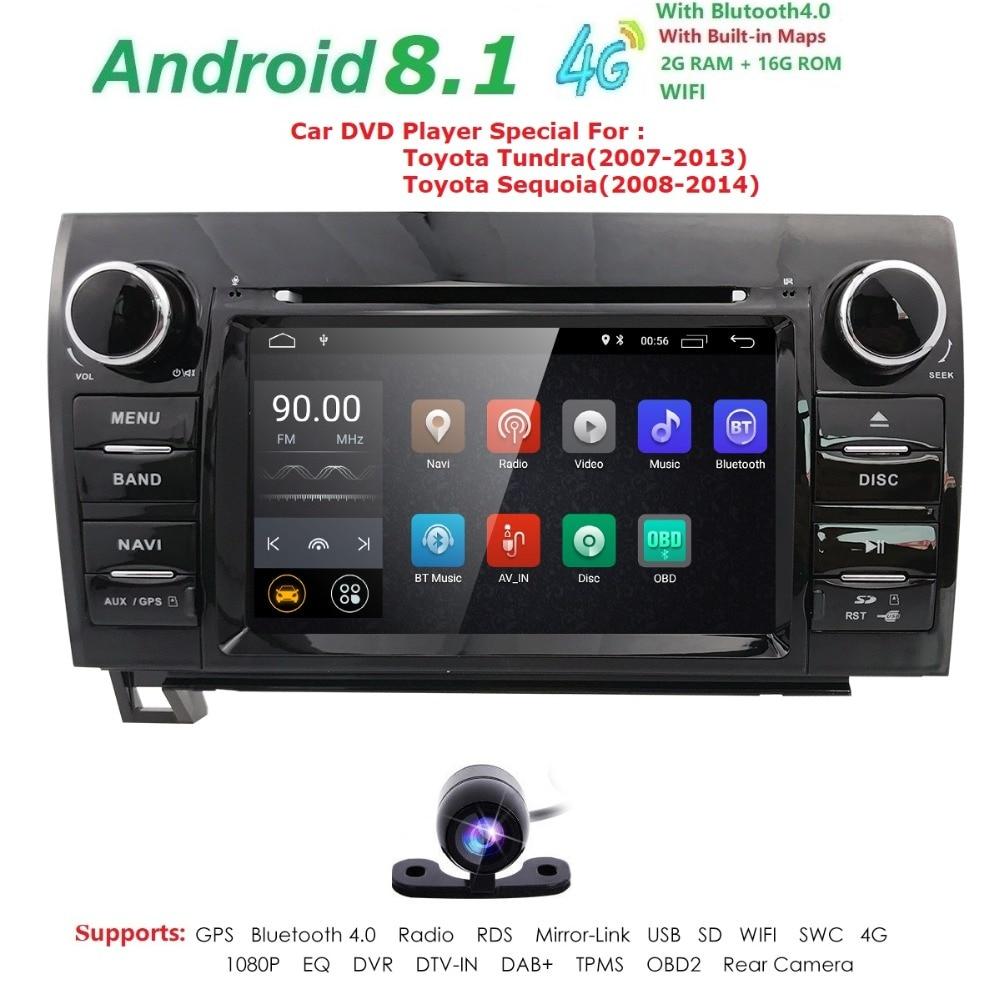 7 pouces 2 Din HD 1024x600 Quad Core Android 8.1 voiture DVD GPS pour Toyota toundra Sequoia 2008-2013 Radio stéréo 4G WiFi OBD DVR DAB +