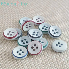 100pcs Four-hole White Button Two-tone Shirt High-grade Resin Buttons DIY Crafts Clothing Sewing Accessories