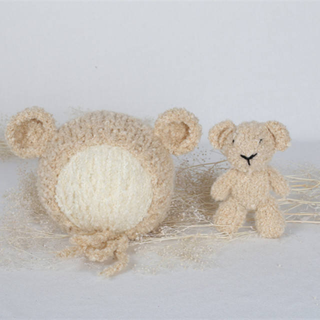 Knitted Teddy BearToy Chunky Baby Bear hat and Toy Set Amigurumi Doll Crochet  Baby Girl Bonnet Knitted Animal Hat Stuffed Bear e987ce1cb60