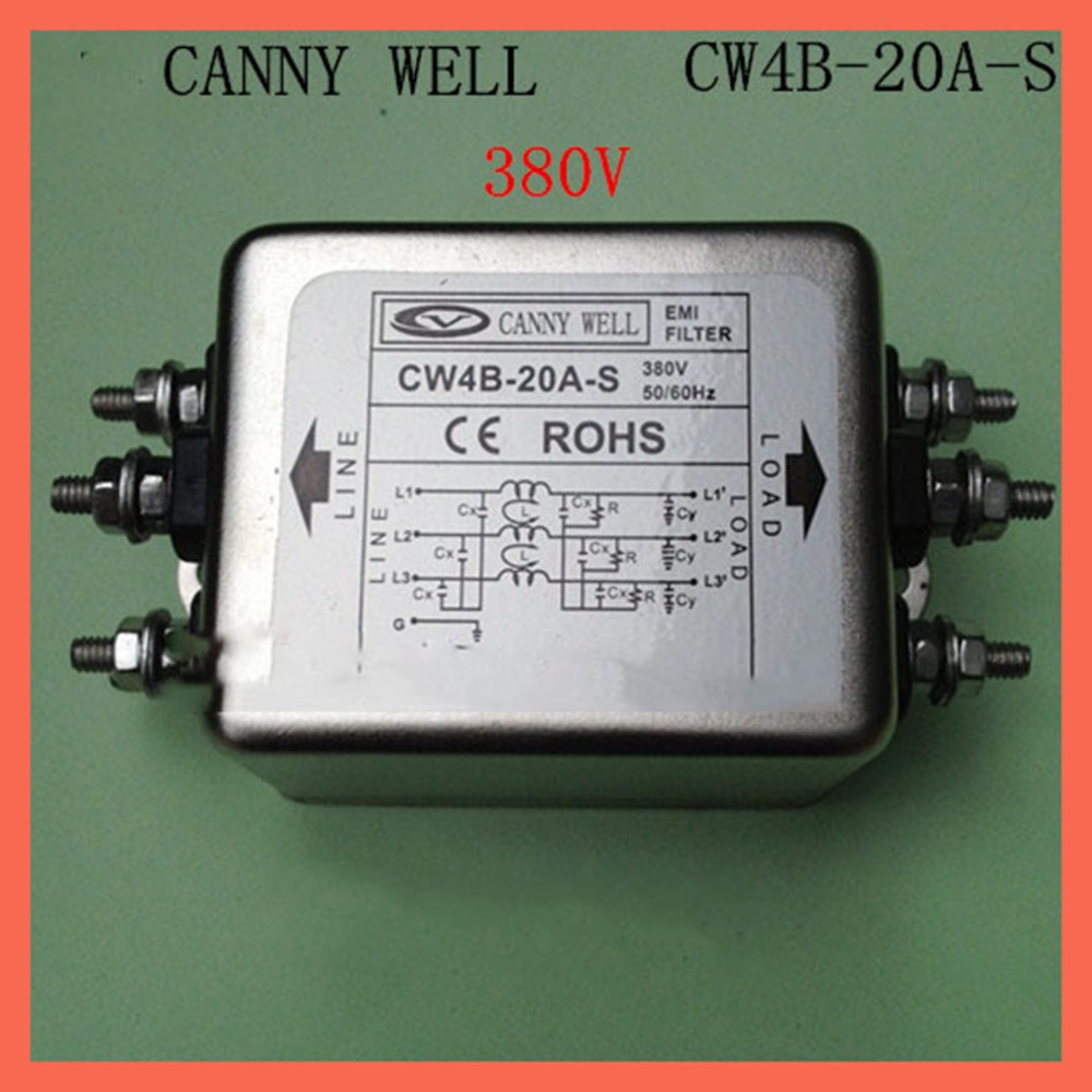 380V CW4B-20A-S 20A, EMI Filter power supply filter Electronic Components Electrical Equipment  Supplies Power Adapters  cw15e 06a t emi power supply filter 110 250v 6a ac electrical equipment adapters power supplies