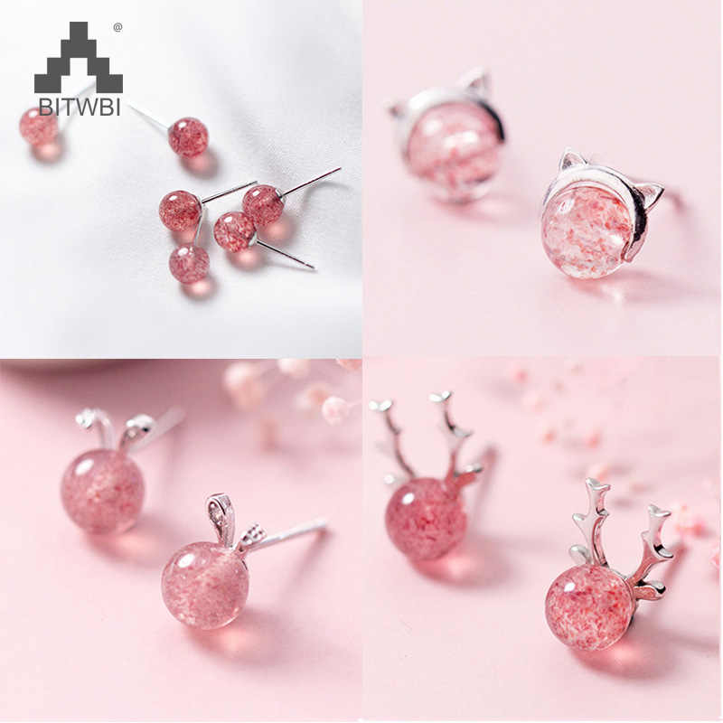 100% 925 Real Sterling Silver 2018 Women Fashion Cute Pink Strawberry Crystal Cat Elk Rabbit Stud Earrings For Women Gifts
