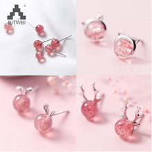 100% 925 Real Sterling Silver 2018 Women Fashion Cute Pink Strawberry Crystal Cat Elk Rabbit Stud Earrings For Gifts