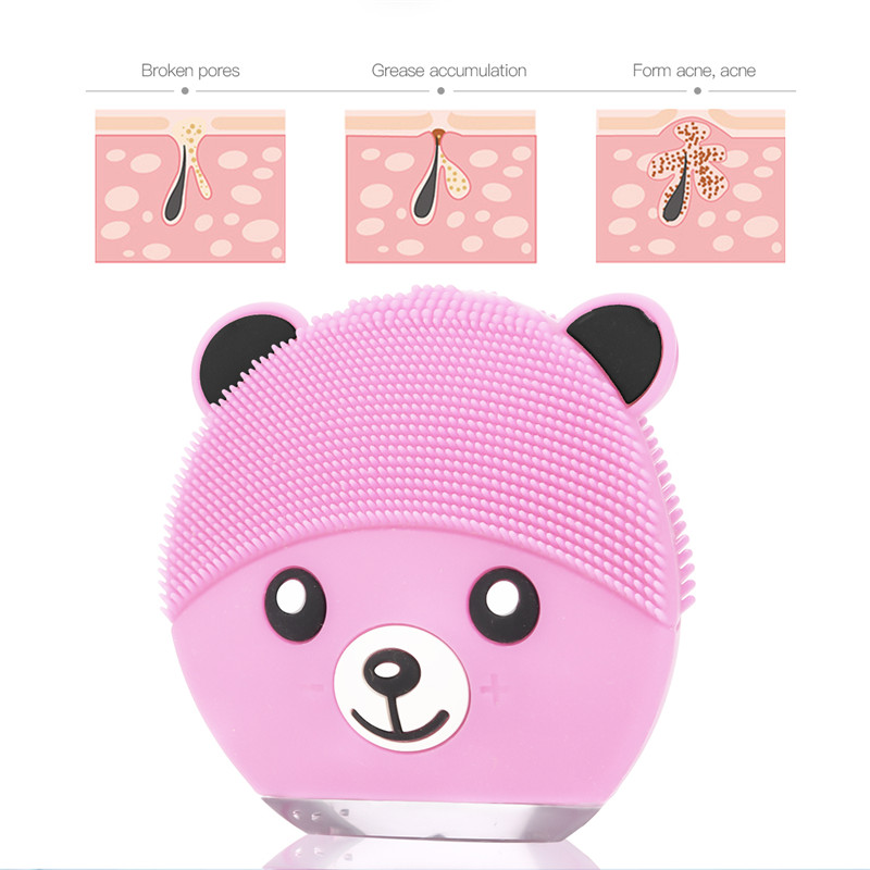 Pink Bear Rechargeable Electric Silicone Facial Cleaning Brush Waterproof Ultrasonic Skin Scrubber Beauty Skin Care Face Bursh46