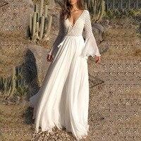 Vintacy Long Women's Dress Sexy Deep V Neck Sheer Maxi White Dresses Female Elegant Summer Long Sleeve Beach Boho Dresses