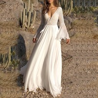 Vintacy Long Women's Dress Sexy Deep V Neck Sheer Maxi White Dresses Female Elegant Summer Long Sleeve Beach Boho Dresses