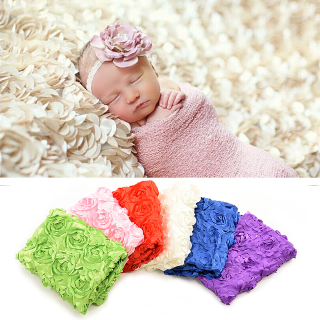 Newborn rose flower blanket backdrop handmade baby photography props swaddling rug infant christmas halloween costume