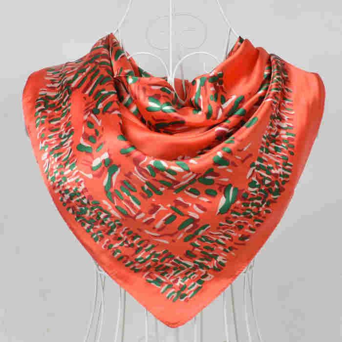 Дизайн женский Шелковый большой квадратный шелковый шарф из полиэстера, 90*90 см горячая Распродажа атласный шарф с принтом для весны, лета, осени, зимы - Цвет: 196 orange red