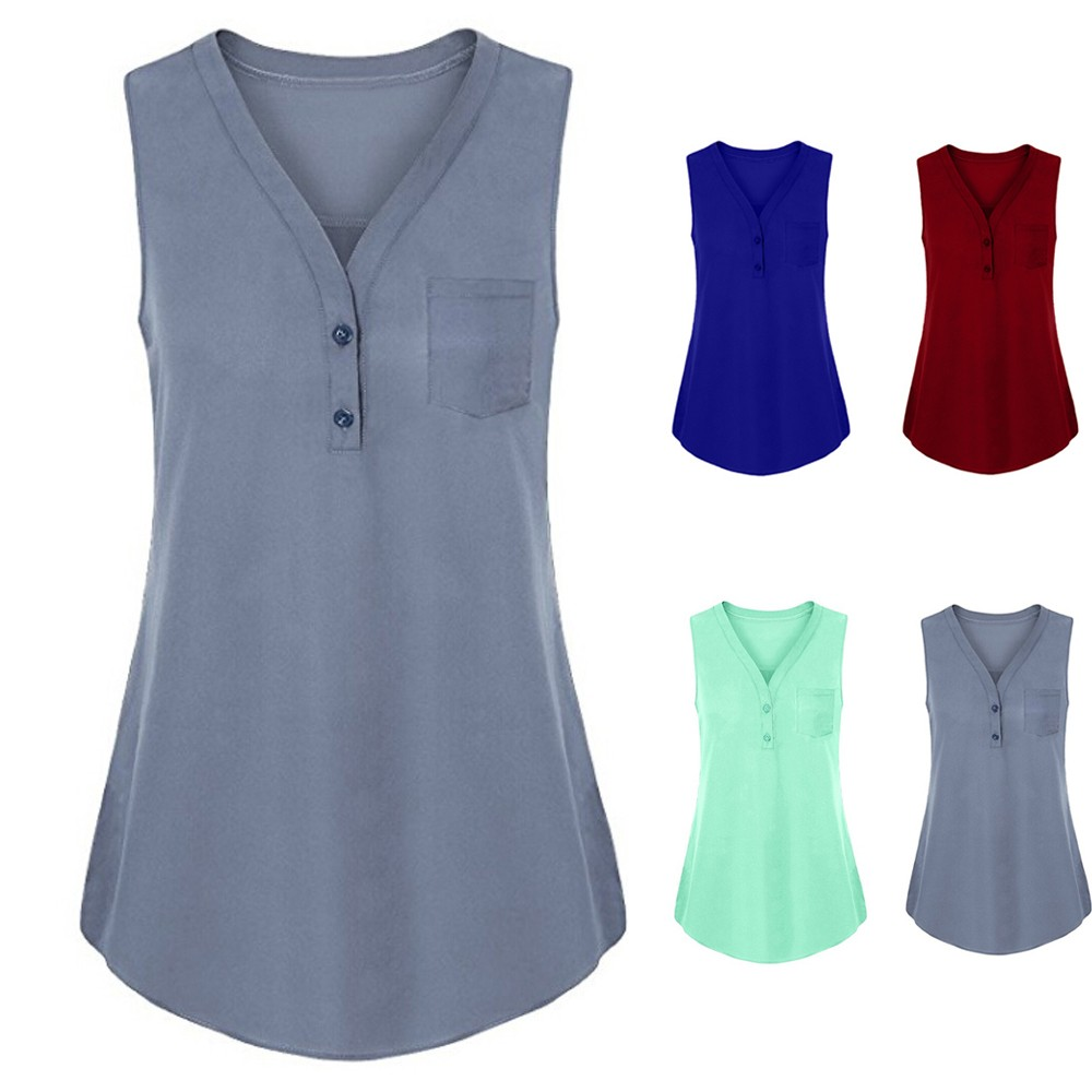 New Sexy Women Summer T-Shirt in Gray Blue Green Red and Black Loose Button Solid V Neck Polyester Ladies fitness top Size S-XL