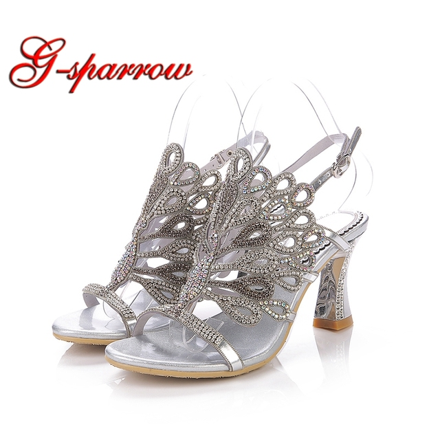 675ce5e809e Silver Sandals Rhinestone Chunky Heel Genuine Leather Sexy Wedding Shoes  Prom Evening Party Dress Shoes 3 Inches Heels Plus Size