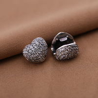 Heart Pave Crystal Clips Lock Beads 925 Sterling Silver Stopper Beads European Charms Fit Pandora Bracelets
