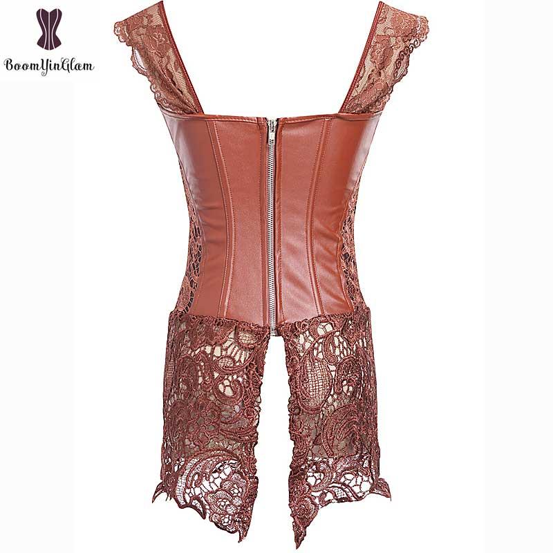 Corset Dress With Laciness Skirt Plus Size 6XL Steampunk Bustier Black Red Brown Corselet Faux Leather Outwear Dress Bone Korset 15