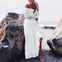 Women Sexy Lace Patchwork Maxi Long Dress 2016 Slash Neck Off Shoulder Flare Sleeve Beach Party