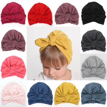 Soft Cute Newborn Toddler Kids Baby Boy Girl Flower Bowknot Cotton Beanie Hat Winter Warm Cap For 6 Colrs NEW image