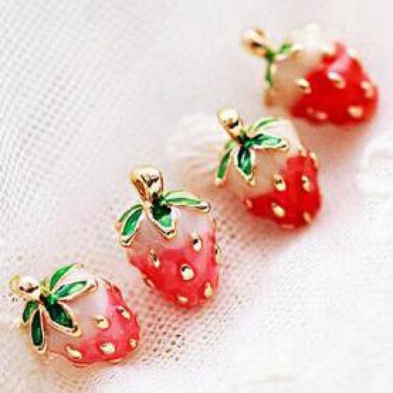 Lovely Strawberry Earrings New Personality, Unique Small Fruit Glaze Women Factory Wholesale Earrings Birthday Gift lông mày cong tự nhiên