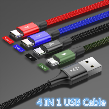 Baseus 4 in 1 USB Cable for iPhone X xs max Charger Cable 3 in 1 Micro USB Type C Cable for Samsung Galaxy S9 S8 Plus For xiaomi