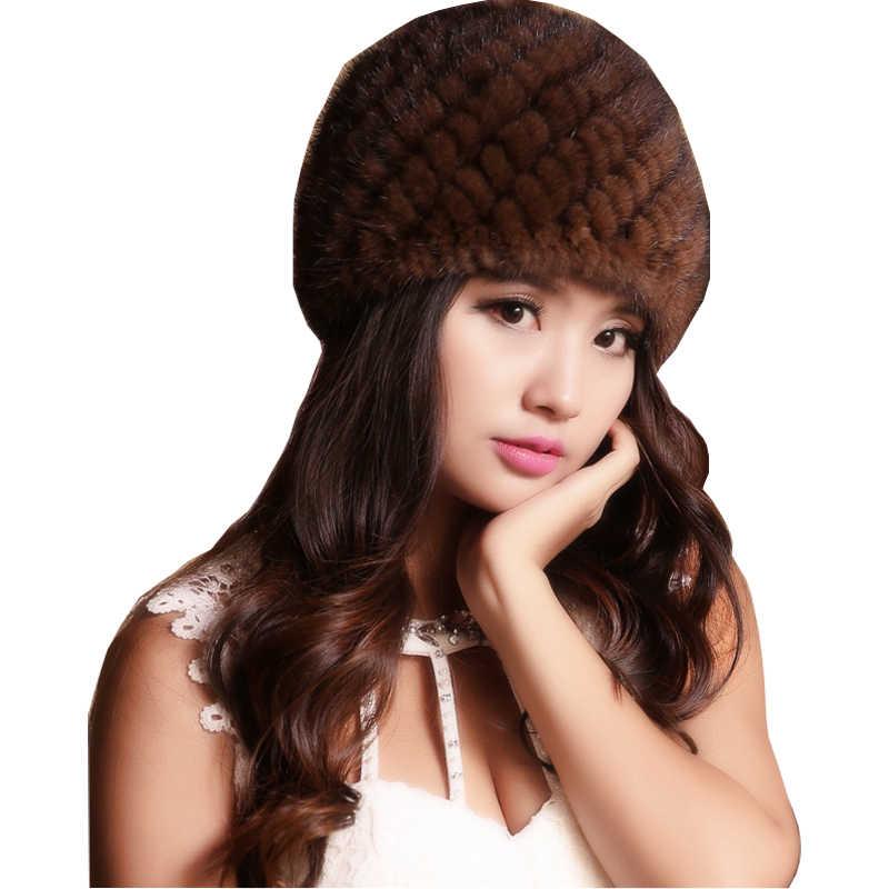 ee5d3409bb3 (TopFurMall) Women s Genuine Real Knitted Mink Fur Bomber Hats Female  Winter Caps Ear Warmers