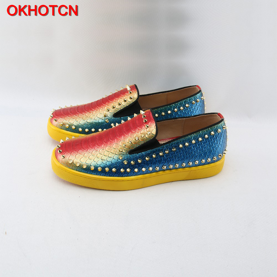 цены OKHOTCN Rivet Genuine Leather Men Loafers Mixed Colors Casual Shoes Red Yellow Blue Round Toe Sneakers Slip-On Fish Scales Flats