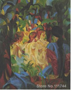 Handmade Oil Painting Bathing girls with town in the backgraund by August Macke decorative art High quality фото