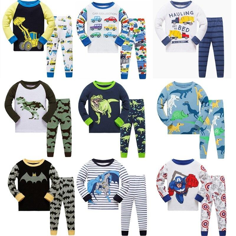 28 design meninos Batman crianças pijamas crianças pijamas bebê pijama define meninos Carro Dinossauro pijamas pijamas pijamas de algodão