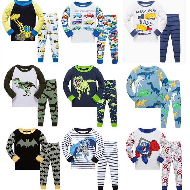 21 design boys Batman kids   pajamas   children sleepwear baby   pajamas     sets   boys Dinosaur Car pyjamas pijamas cotton nightwear