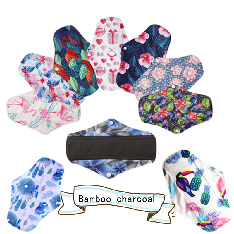 [simfamily] 10PCS Reusable Pads Bamboo Charcoal Sanitary Pads Regular Flow Menstrual Pads Washable Panty Liner Cloth Pads