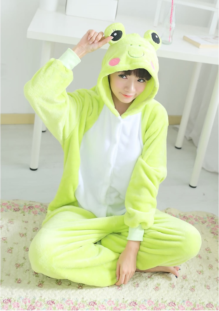 45c99d8a1e44 Frog onesies for adults flannel animal pajamas one piece unisex hooded  couples pajama set animal pajamas onesies free shipping