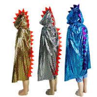 Unisex Capretti Delle Ragazze Dei Ragazzi Dinosauro Mantello Strega Costume Bambino Del Capo di Travestimento di Halloween Cosplay Costume di Scena