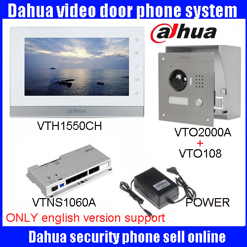 Original 7 Inch Touch Screen Dahua DH-VTH1550CH Color Monitor with TO2000A outdoor IP Metal Villa Outdoor Video Intercom sysytem rx16 tx26 ju sr dh 1007a1 fpc033 v3 0 dh 1007a1 fpc033 10 1inch touch screen panel for tablet pc noting size and color