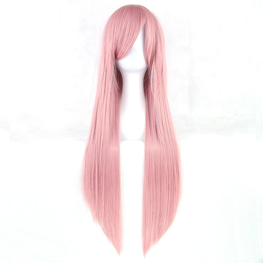 Soowee 24 Colori Lungo Rettilineo Delle Donne Del Partito Bionda Parrucca Rosa Ad Alta Temperatura Resistente Al Calore Capelli Sintetici Cosplay Parrucca Parrucchino