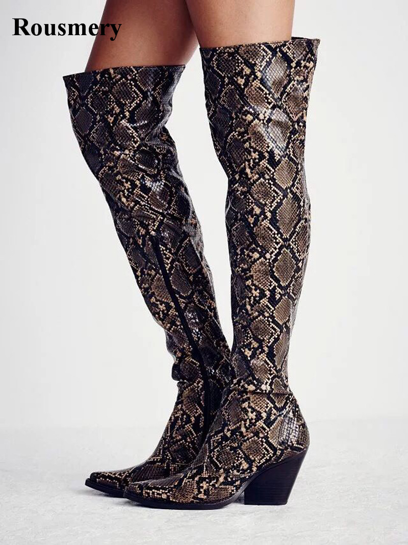 New Design Women Fashion Pointed Toe Snake Leather Over Knee Thick Heel Knight Boots Western Style Cow-boy Long Boots