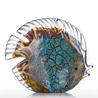Blue Mottled Band Tropical Fish Statue Animal Glass Art&Craft Home Decoration Accessories For Living Room L3307