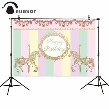 Allenjoy carousel photography backdrop birthday party princess girl background photophone personalized fabric shoot prop image