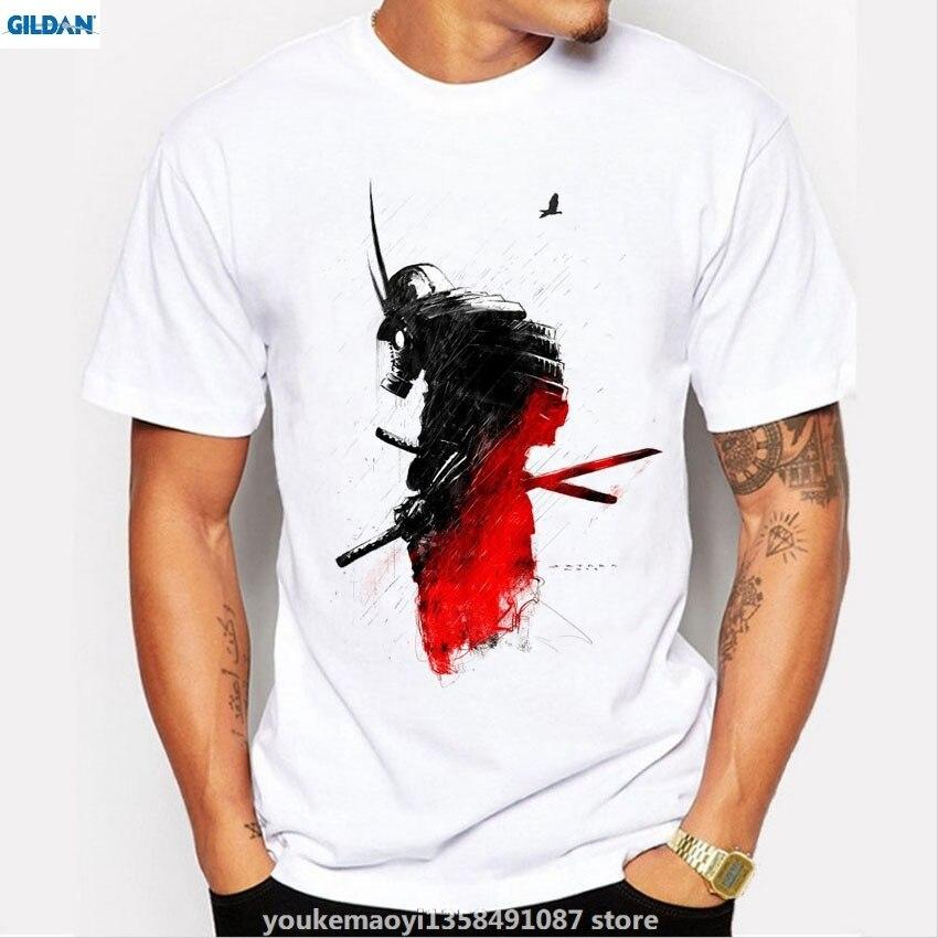 GILDAN New men tee shirt fashion Samurai Warrior print t-shirt male brand shirts summer short sleeve novelty o-neck t shirt