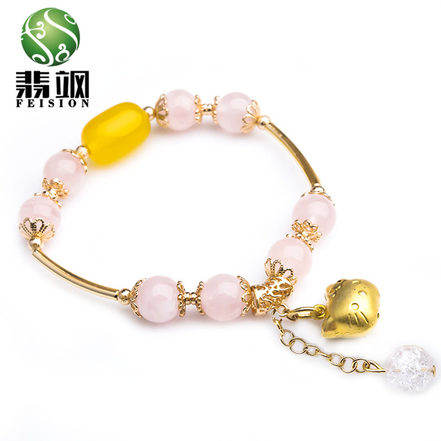 2016 Pink Crystal Bracelet Female Jewelry Cat Pendant Natural Crystal Handmade Charm Metal Rope Male Fashion Jewelry