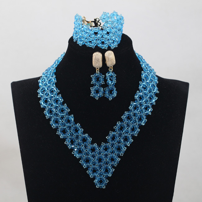 Sky Blue Crystal Beads Jewelry Sets African Wedding Jewelry Sets Trendy Nigerian Party V-Type Beads Sets Free ShippingABH059
