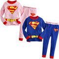 New Spring Autumn Children Girls Clothing Sets Long Sleeve Cartoon Super Man Clothes Tops Leggings Pants Girl Kids 2 Pcs Suit