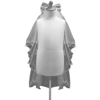 New Women Wedding Dress bowknot Veil Layers Tulle Ribbon Edge Bridal Veils Bridal Veils