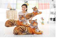 Brinquedo criativo 3D dimensional propenso tigre de pelúcia macia almofada, coxim traseiro, almofada jogar travesseiro decoração de casa presente de aniversário p0425
