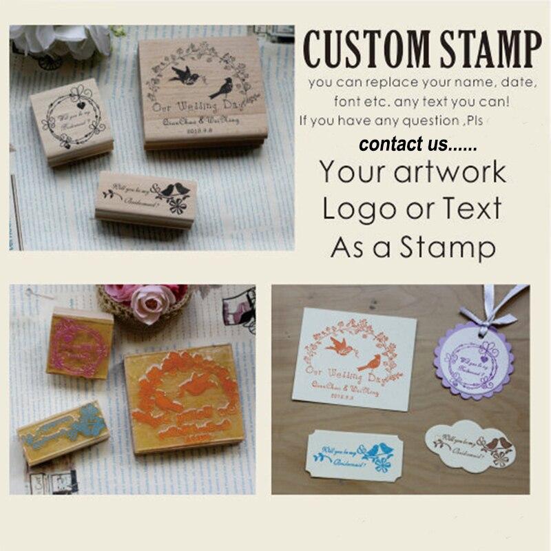 Custom Stamp Wedding Wood Mounted Or
