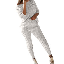 feitong women style winter warm long sleeve o-neck pant suit set cloth g25