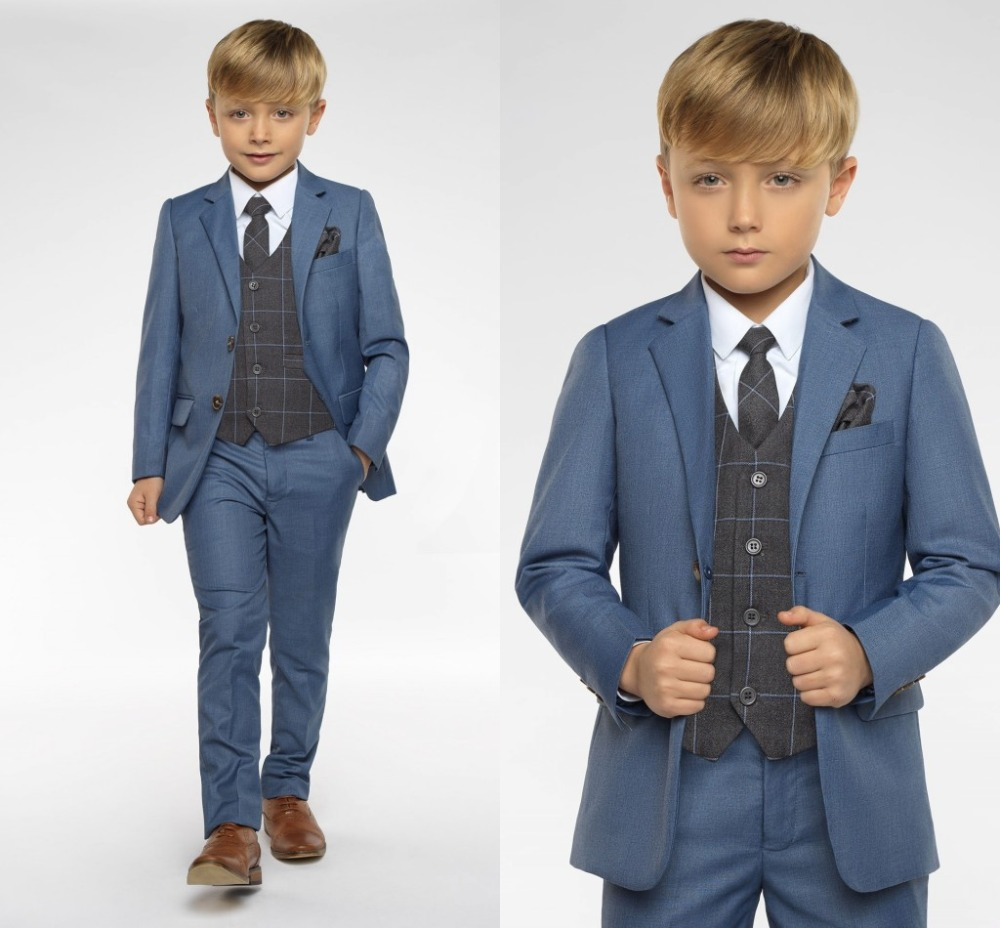 2019 New Arrival Boys' Attire Peaked Lapel Kids Suits Custom Made Clothing Set 3 Pieces Prom Suits (Jacket+Pants+Tie+Vest)