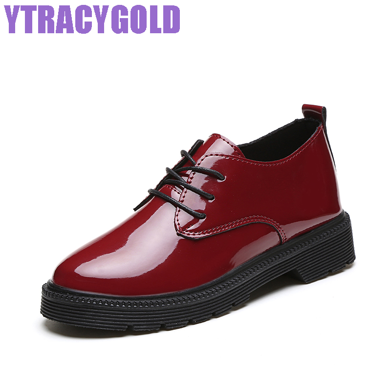 YTracyGold Women Autumn Martin Shoes PU Leather Flat Shoes Women Casual Elegant Ladies Shoes Mocassin British Style Footwear