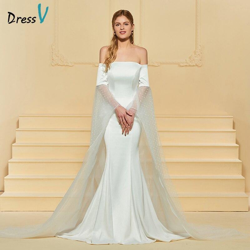Vestido largo de novia de marfil de Dressv Off The hombro Corte de - Vestidos de novia