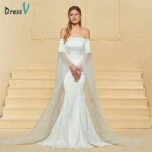 Dressv Panjang Gaun Perkahwinan Gading Off Bahu Mermaid Mahkamah Keretapi Backless Lengan Panjang Custom Wedding Gown Wedding Dress