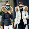 2017 New winter jacket women  Big fur collar Solid Thick Hooded Snow Wear Coat Lady Jackets Parkas down cotton jacket Female