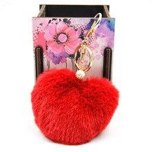 New Fashion Fluffy Faux Rex Rabbit Fur Pom Pom Heart Ball Keychain Woman Bag Pearl Charms Keyring Man Car Key Ring Chain Trinket