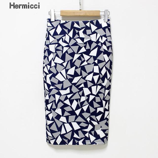 Hermicci плюс Размеры Для женщин Юбки-карандаши 2017, Новая мода тонкий офис flormal юбка дамы Bodycon Юбки для женщин элегантные разрез Юбки для женщин