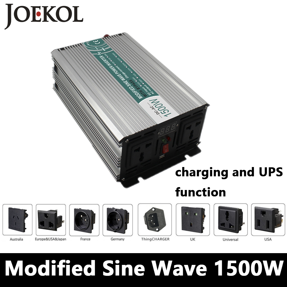 1500W Modified Sine Wave Inverter,DC 12V/24V/48V To AC110V/220V,off Grid power Inverter with charger and UPS,Solar inverter solar power on grid tie mini 300w inverter with mppt funciton dc 10 8 30v input to ac output no extra shipping fee