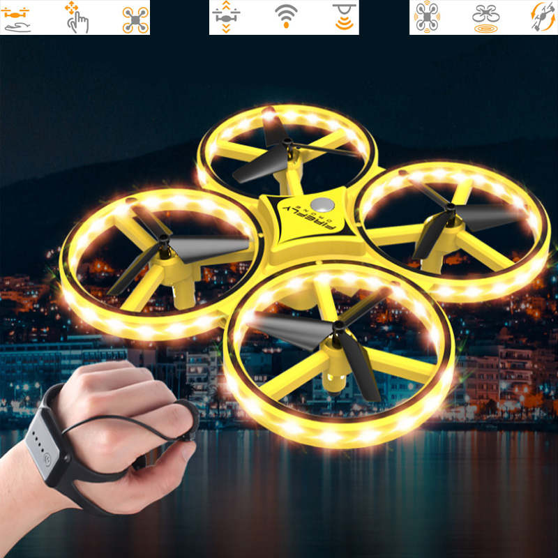 2019 New Product Body Sensing Watch Induction Aircraft Gesture Control Unmanned Aerial Vehicle Sensing Four axis Aircraft-in Drone Accessories Kits from Consumer Electronics